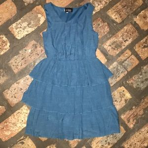 blue dress with ruffles